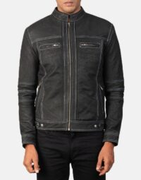 Youngster Distressed Black Leather Jacket 4