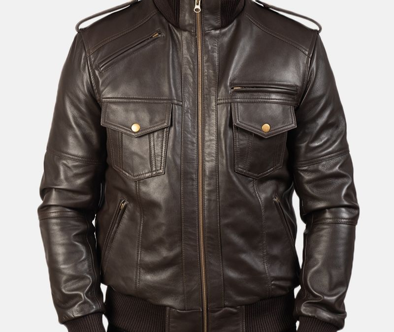 Agent-Shadow-Brown-Leather-Bomber-Jacket-desc