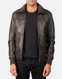 Air Rolf Brown Leather Bomber Jacket 1