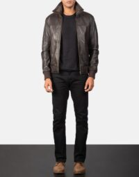 Air Rolf Brown Leather Bomber Jacket 2