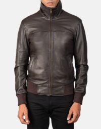 Air Rolf Brown Leather Bomber Jacket 4