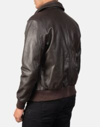Air Rolf Brown Leather Bomber Jacket 5
