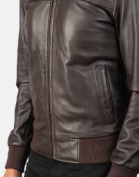 Air Rolf Brown Leather Bomber Jacket 6