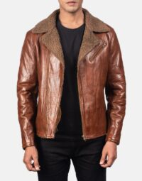 Alberto Shearling Brown Leather Jacket 1