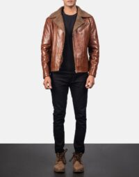 Alberto Shearling Brown Leather Jacket 2