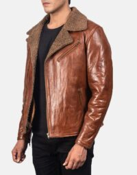 Alberto Shearling Brown Leather Jacket 3