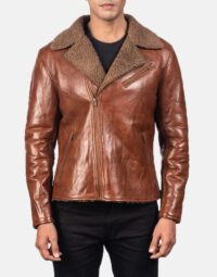 Alberto Shearling Brown Leather Jacket 4