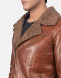 Alberto Shearling Brown Leather Jacket 6