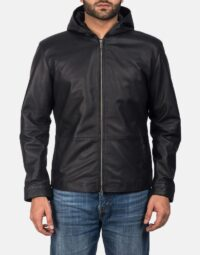 Andy Matte Black Hooded Leather Jacket 1
