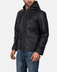 Andy Matte Black Hooded Leather Jacket 2