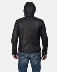 Andy Matte Black Hooded Leather Jacket 4