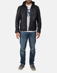 Andy Matte Black Hooded Leather Jacket 5