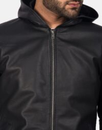 Andy Matte Black Hooded Leather Jacket 6