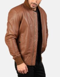 Bomia Ma-1 Brown Leather Bomber Jacket 4
