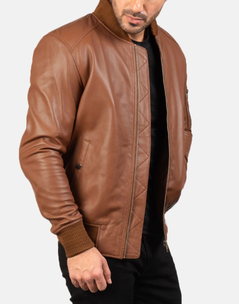 Bomia-Ma-1-Brown-Leather-Bomber-Jacket-4