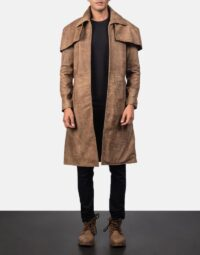 Classic Brown Leather Duster 1