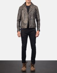 Danny Quilted Brown Leather Biker Jacket 2