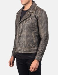 Danny Quilted Brown Leather Biker Jacket 3