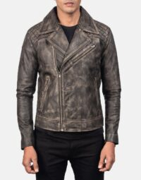 Danny Quilted Brown Leather Biker Jacket 4