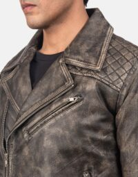 Danny Quilted Brown Leather Biker Jacket 5
