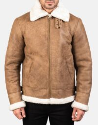 Francis B-3 Distressed Brown Leather Bomber Jacket 4