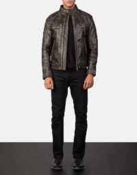 Gatsby Distressed Brown Leather Jacket 2