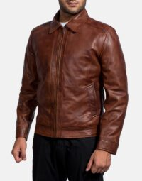 Inferno Brown Leather Jacket-2