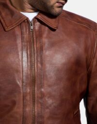 Inferno Brown Leather Jacket-3