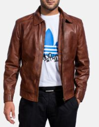 Inferno Brown Leather Jacket-4