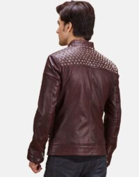 Maroon-Studded-Quilt-Jacket-Zoom-3