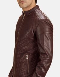 Maroon-Studded-Quilt-Jacket-Zoom-4