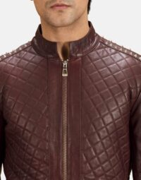 Maroon-Studded-Quilt-Jacket-Zoom-5