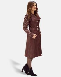Maroon-Studded-Trench-Coat-Zoom-6