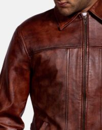 Mens Abstract Maroon Leather Jacket 3