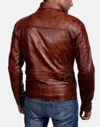 Mens Abstract Maroon Leather Jacket 4