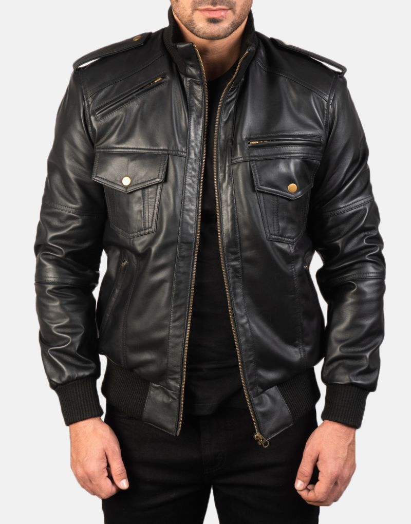 Mens-Agent-Shadow-Black-Leather-Bomber-Jacket-1