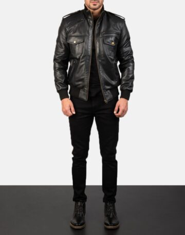 Mens-Agent-Shadow-Black-Leather-Bomber-Jacket-2