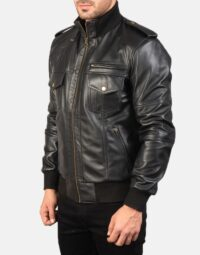 Mens-Agent-Shadow-Black-Leather-Bomber-Jacket-3