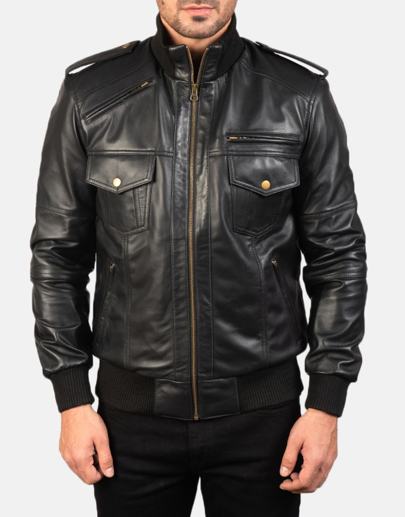 Mens-Agent-Shadow-Black-Leather-Bomber-Jacket-4