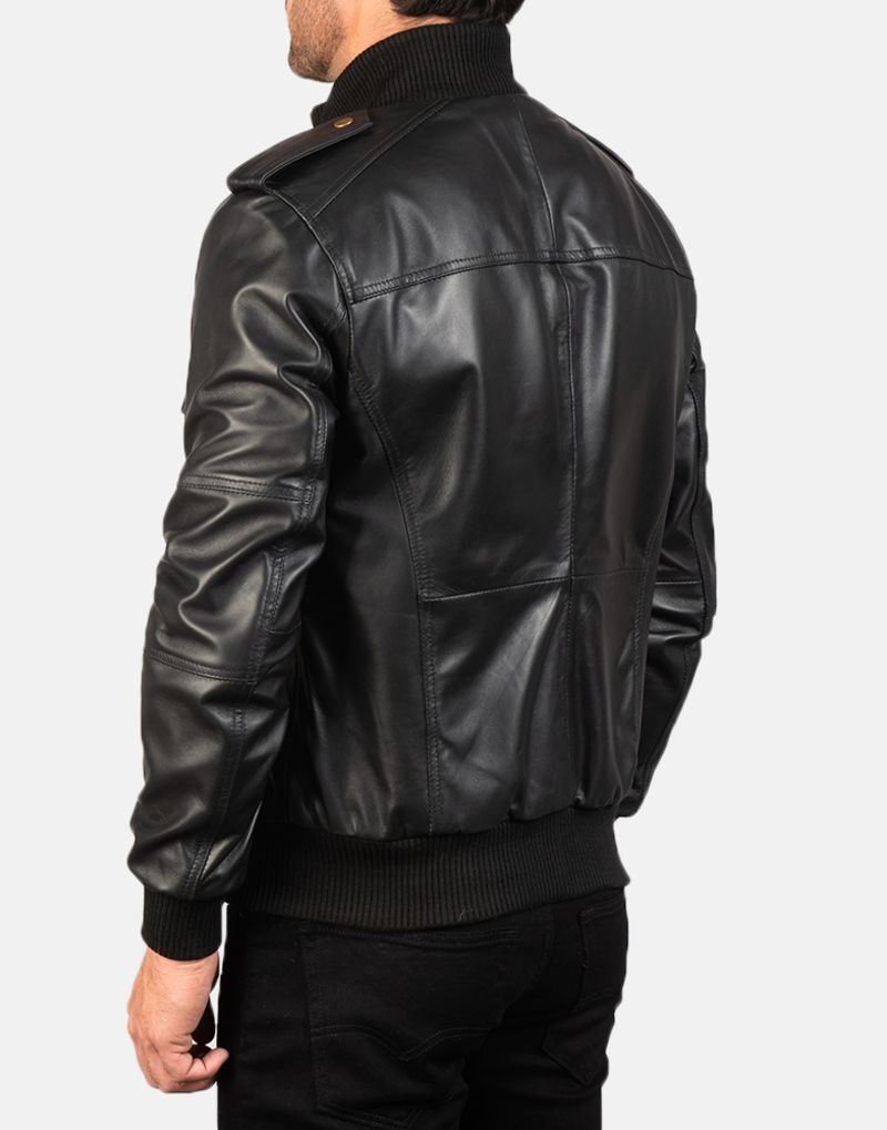 Mens-Agent-Shadow-Black-Leather-Bomber-Jacket-5
