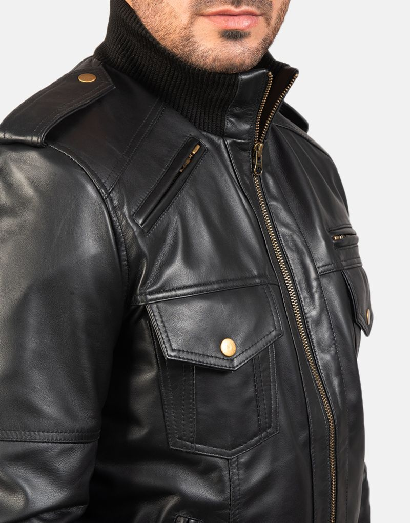 Mens-Agent-Shadow-Black-Leather-Bomber-Jacket-6