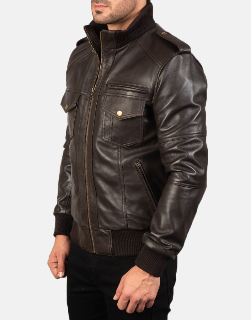 Mens-Agent-Shadow-Brown-Leather-Bomber-Jacket-3