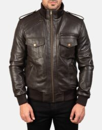 Mens-Agent-Shadow-Brown-Leather-Bomber-Jacket-4