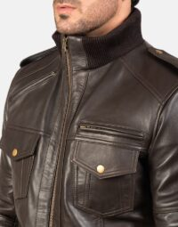 Mens-Agent-Shadow-Brown-Leather-Bomber-Jacket-6
