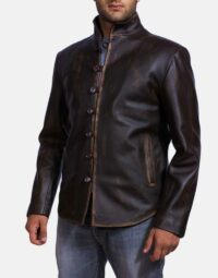 Mens Drakeshire Brown Leather Jacket 2