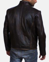 Mens Drakeshire Brown Leather Jacket 4