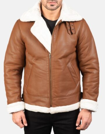 Mens-Francis-B-3-Brown-Leather-Bomber-Jacket