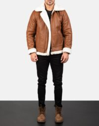 Mens-Francis-B-3-Brown-Leather-Bomber-Jacket-2