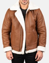 Mens-Francis-B-3-Brown-Leather-Bomber-Jacket-4
