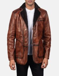 Rocky Brown Fur Leather Coat 1